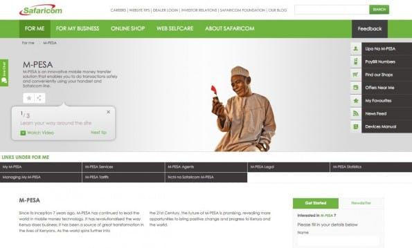 Mit M-Pesa gibt es in Ländern wie Kenia eine weit verbreitete Mobile-Payment-Lösung, die Saraficom in Zusammenarbeit mit Vodafone anbietet. (Screenshot: Safaricom)