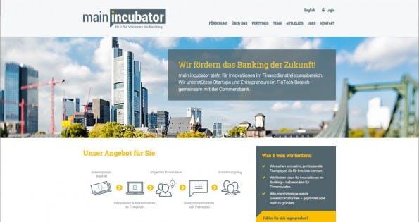 Der main incubator der Commerzbank ist der erste deutsche Startup-Inkubator mit einer Großbank als Anker-Investor. (Screenshot: main incubator)