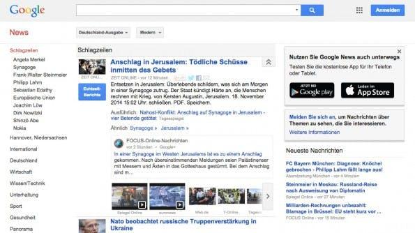 Der wahrscheinlich größe Aggregator für Nachrichten: Google News. (Screenshot: google.com)