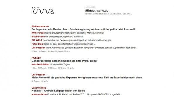 Das deutsche Vorzeigebeispiel für News-Aggregatoren Rivva. (Screenshot: rivva.de)