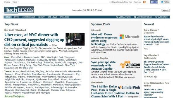 Der Spezialist für Technews heißt Techmeme. (Screenshot: techmeme.com)