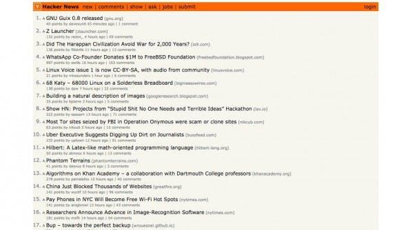 Speziell für Gründer, Entwickler oder Designer. (Screenshot: news.ycombinator.com)