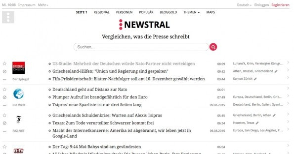 Ein deutscher Pionier: Newstral. (Screenshot: t3n/ Newstral.com)