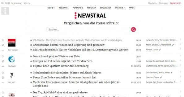 Ein deutscher Pionier: Newstral. (Screenshot: t3n/ Newstral.com)