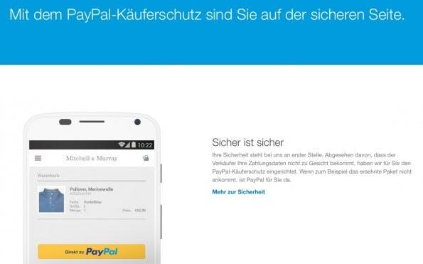 Der PayPal Käuferschutz soll Kunden mehr Sicherheit beim Onlineshopping geben und Onlinehändlern so zu mehr Umsatz verhelfen. (Screenshot: PayPal)