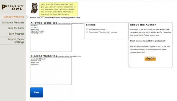 Die Produktivitäts-Eule schließt Webseiten, auf denen ihr zu lange verweilt, ohne vorher zu fragen. (Screenshot: Productivity Owl)