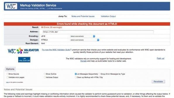 Mit den Tools vom W3C könnt ihr euren Code auf Standardkonformität prüfen. (Screenshot: W3C)