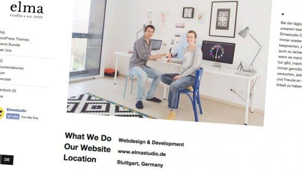 Elmastudio.de steht auf mehreren Säulen, eine davon: die eigene Agentur. (Screenshot: elmastudio.de)