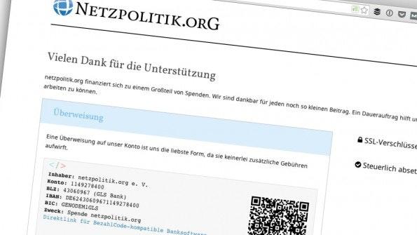 Unter anderem durch Spenden finanziert: Netzpolitik.org. (Screenshot: netzpolitik.org)