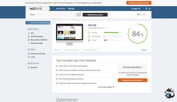 Auch mit Woorank könnt ihr eure Website kostenlos testen. (Screenshot: Woorank)
