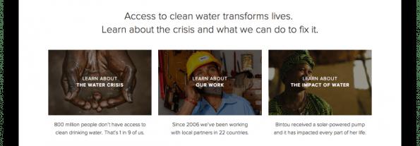 Thumbnails der Seite charity:water. (Screenshot: charity:water)