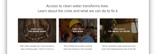 Thumbnails der Seite charity:water. (Screenshot: charity:water)