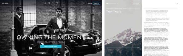 Edle Graustufen bei Uber und Squarespace. (Screenshots: Uber und Squarespace)