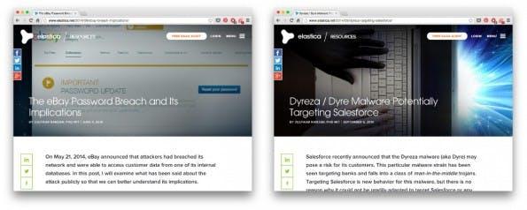 Trotz kontrastreicher Hintergrundbilder ist die Überschrift der Blogbeiträge auf Elastica stets lesbar. (Screenshots: Elastica)