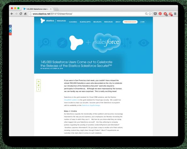 Das blaue Hintergrundbild verrät, wie die Macher von Elastica die gute Lesbarkeit des Textes garantieren.