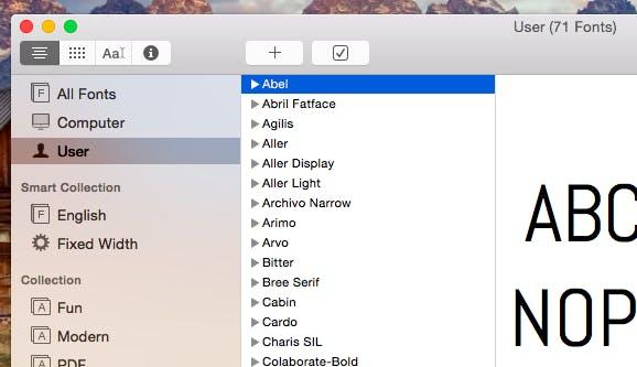 """Die Font-Book-Kategorie """"User"""" ist praktisch, um nachzusehen, welche Fonts du heruntergeladen hast. (Screenshot: Apple)"""