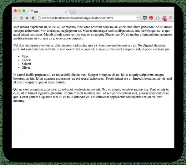 Nacktes HTML sieht unter ästhetischen Gesichtspunkten furchtbar aus. (Screenshot: Erik D. Kennedy)