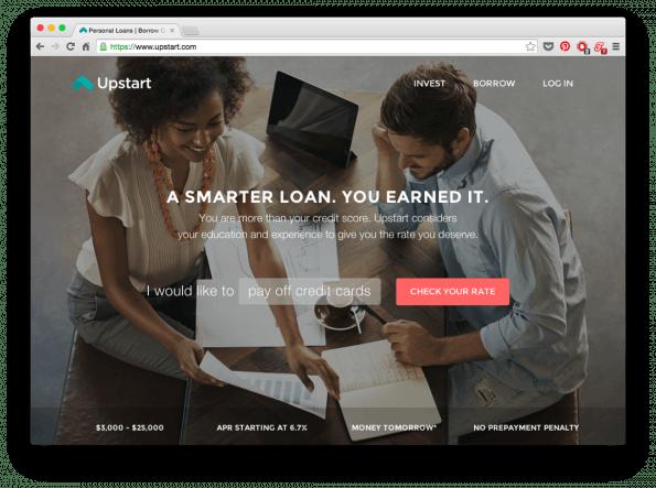Die Website von Upstart hat einen 35-Prozent-transparenten Schwarzfilter. (Screenshot: Upstart)