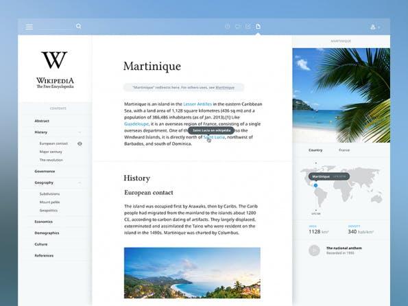 Wikipedia-Desgin-Konzept von Aurélien Salomon. (Screenshot: Aurélien Salomon)