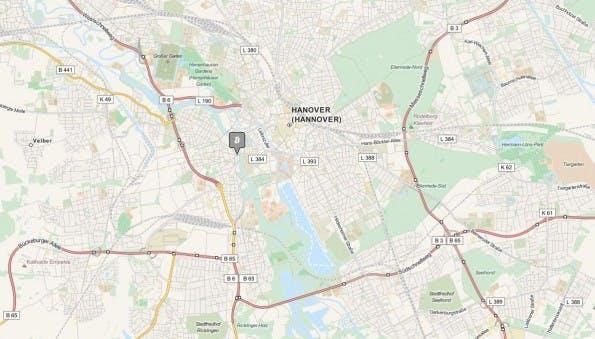 Bis vor Kurzem war der Coworking-Space Edelstall die einzige Bitcoin-Bastion in Hannover. Deswegen soll nun die längste Bitcoin-Meile der Welt entstehen. (Screenshot: coinmap.org)
