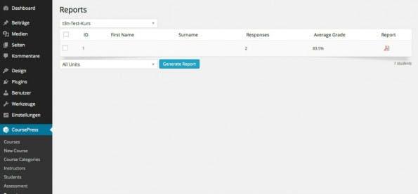 Im Backend selbst gibt es nur eine kleine Auswertung, die ausführliche dann als PDF. (Screenshot: CoursePress)