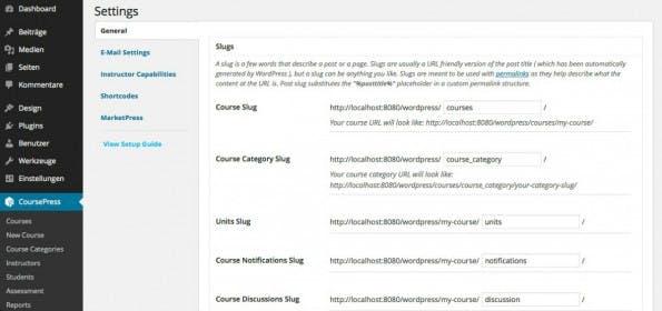 In den CoursePress-Einstellungen gibt es die Möglichkeiten, alle generierten URLs anzupassen. (Screenshot: CoursePress)