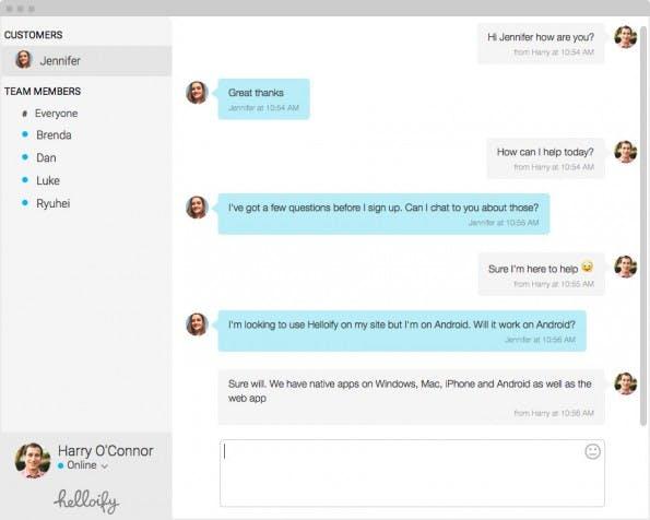 Chat-Support: Helloify will sich mit seinen Team- und SMS-Funktionen von der Konkurrenz absetzen. (Screenshot: Helloify)