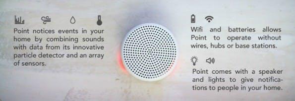 Point ist der Haus-Sitter, springt auf verschiedene Signale an und benachrichtigt den Nutzer. (Bild: Point)