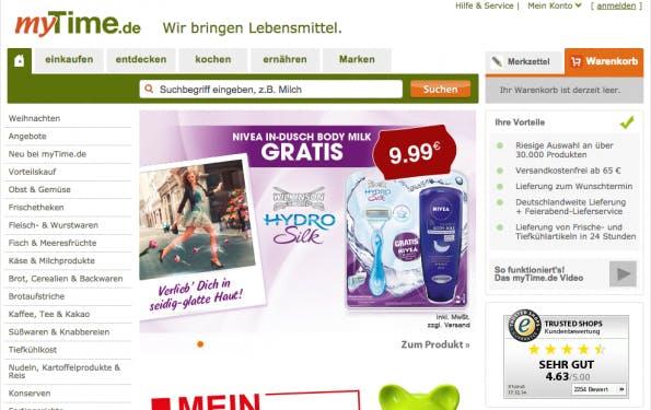 Einer der erwähnenswerten deutschen Online-Supermärkte ist myTime.de (Screenshot: myTime)