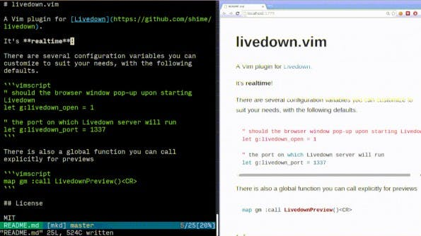 Livedown: Markdown-Vorschau im Browser für Nutzer von Vim, Emacs und Sublime. (Screenshot: Livedown)