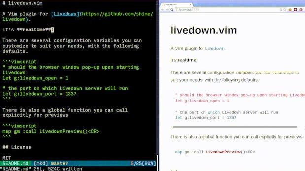 Livedown: Markdown-Vorschau für Vim, Emacs und Sublime