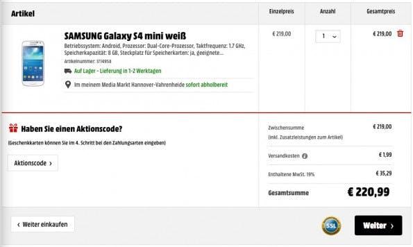 Auch der Warenkorb enthält keinen Hinweis auf eine mögliche Expresslieferung. Oder eine Unmögliche.(Screenshot: Media Markt)
