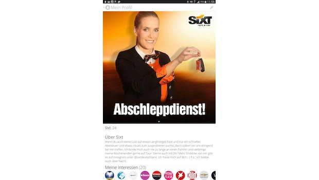 Guerilla-Marketing as its best: Wie Sixt mit Tinder-Nutzern flirtet. (Screenshot: 247grad.de)