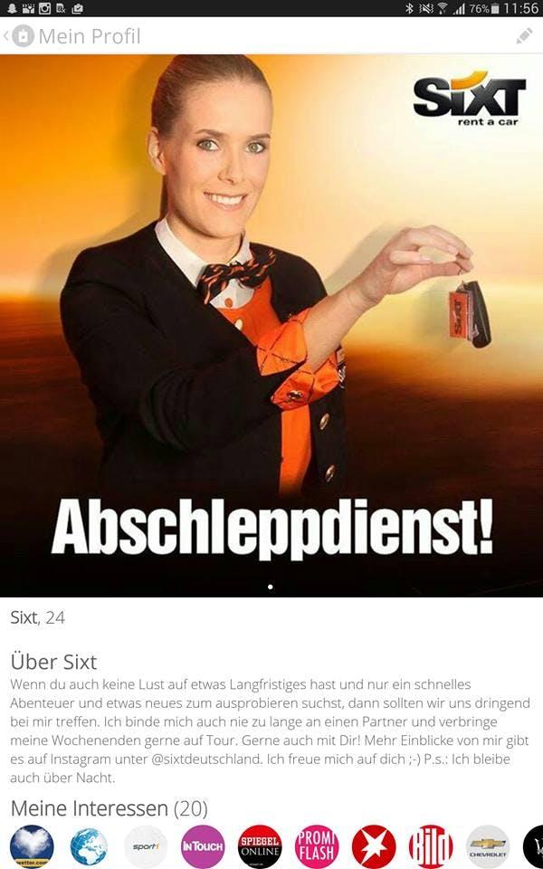 Guerilla-Marketing as its best: Wie Sixt mit Tinder-Nutzern flirtet. (Screenshot: 247grad.de)