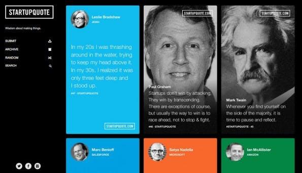 Startup Quote: Inspirierende Zitate für Gründer. (Screenshot: Startup Quote)
