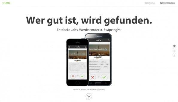 Das Tinder-Prinzip als Startup-Trend: Truffls. (Screenshot: t3n)
