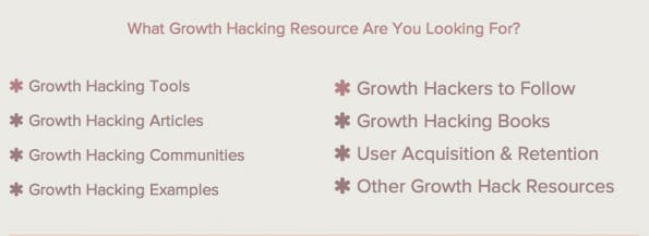 "Kategorien der ""Ultimate Growth Hacker Resource List"". (Screenshot: Autosend.io)"