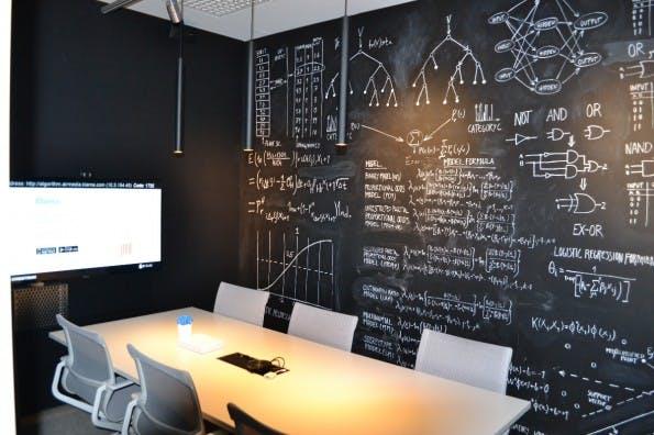 """Der Besprechungsraum """"Algorithm"""". An den Wänden sind Teile einer Formel zu sehen, die bei Klarna im Geschäftsalltag genutzt wird. Alle Besprechungsräume sind thematisch eingerichtet. (Foto: Jochen G. Fuchs)"""