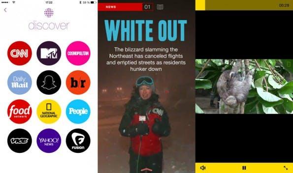 Snapchat Discover versorgt die 100 Millionen Nutzer des Messengers alle 24 Stunden mit neuen Nachrichten. (Screenshot: Snapchat)