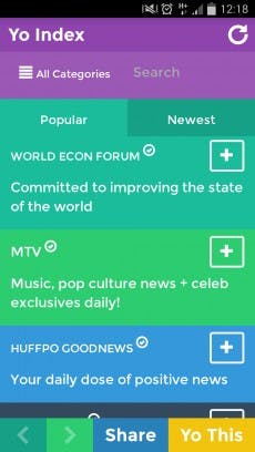Es gibt eine Menge spannender Nachrichten-Kanäle in der Yo-App... (Screenshot: Andreas Weck)