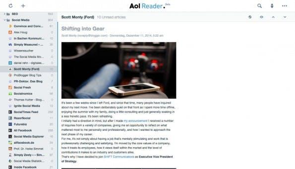 Der RSS-Reader von AOL ist kostenfrei. (Screenshot: AOL)