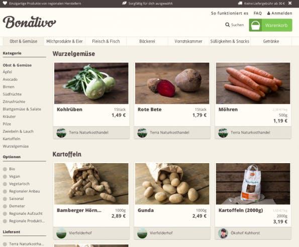 Einblick ins das Sortiment des neuen E-Food-Startups. (Screenshot: Bonativo)