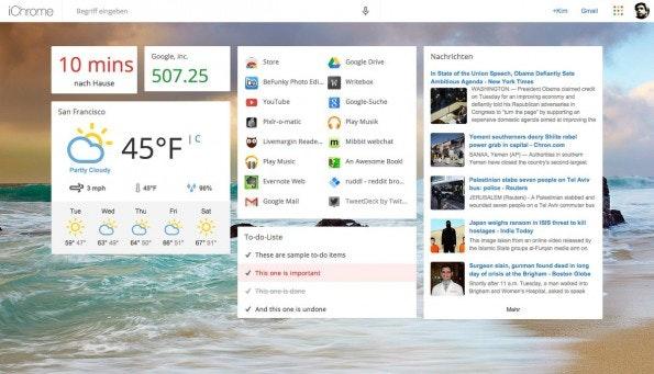 iChrome erweitert die neuen Tabs um alle nur erdenklichen Informationen. (Screenshot: iChrome)