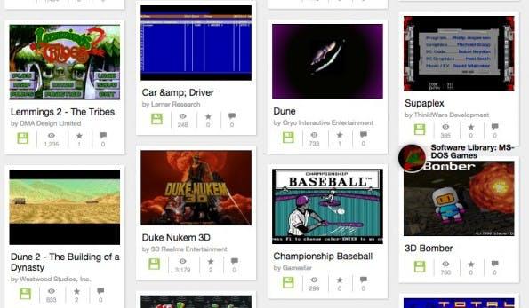Internet Archive: Nur ein kleiner Ausschnitt des DOS-Spiele-Angebots (Screenshot: archive.org)