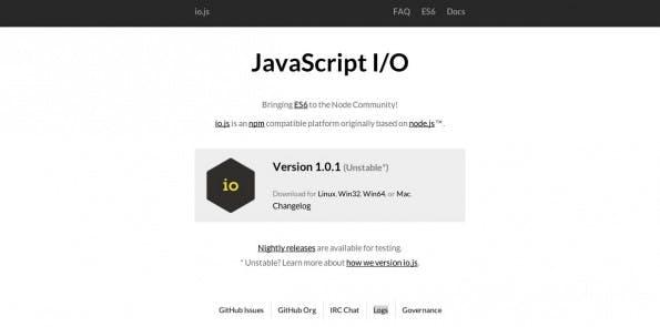 Node.js-Fork: IO.js Version 1 steht zum Download bereit. (Screenshot: IO.js)