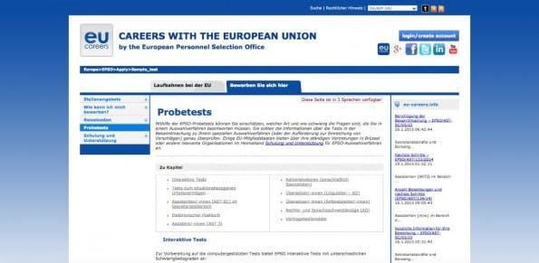 Tests für die Assessment-Center gibt es online. (Screenshot: europa.eu)