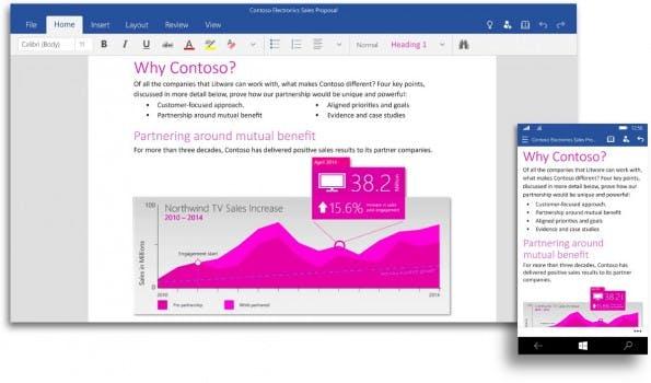 Neben Office 2016 wird es auch ein Touch-optimiertes Office für Windows 10 geben. (Screenshot: Microsoft)