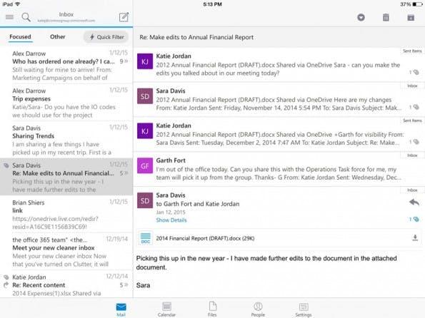 Microsoft hat aus der übernommenen Acompli-App kurzerhand Outlook für iOS und Android gemacht. (Screenshot: Microsoft)