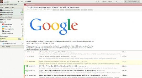 RSS-Reader: Das Web-Interface von NewsBlur ist nicht hübsch aber funktional. (Screenshot: NewsBlur)