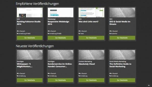 SEO: Omlia sammelt E-Books und Whitepaper aus dem Bereich Online-Marketing. (Screenshot: Omlia)